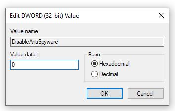 Add DisableAntiSpyware to enable Windows defender if not available - Softwarebottle