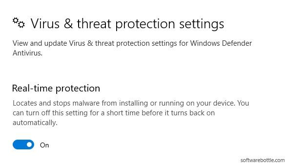 Windows defender real time protection - Softwarebottle