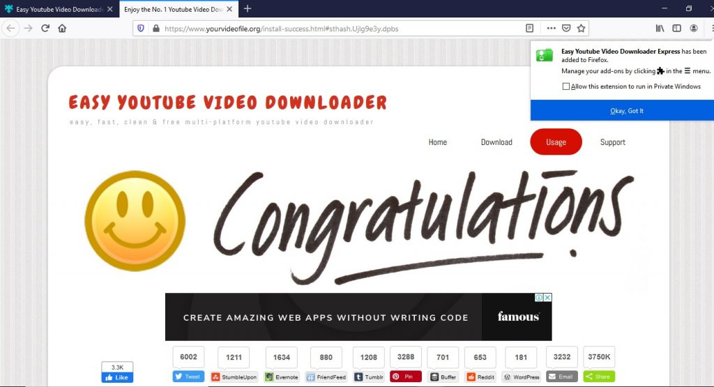 Easy youtube downloader - congratulation screen - Softwarebottle