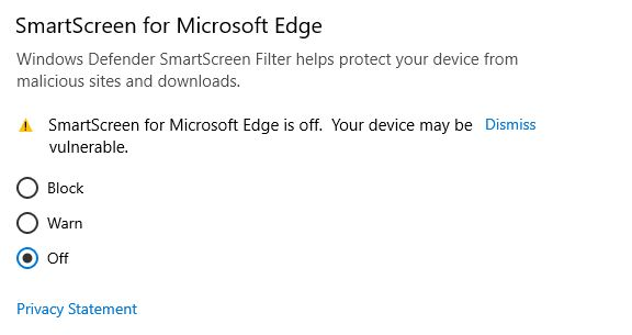 disable Windows defender smartscreen for Microsoft Edge