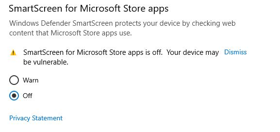 disable Windows defender smartscreen for Microsoft apps