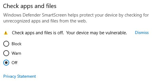 disable Windows defender smartscreen for check apps and files