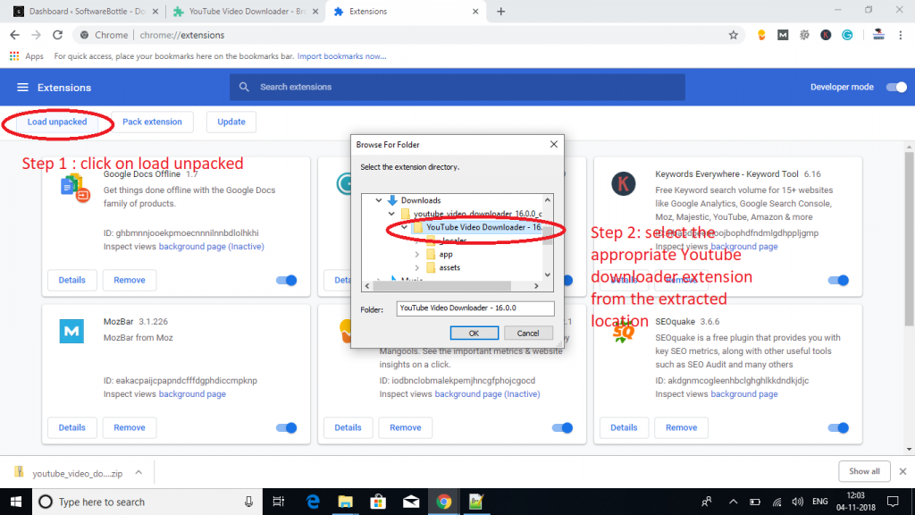 how to install youtube video downloader chrome extension in developer mode - third step(softwareBottle)