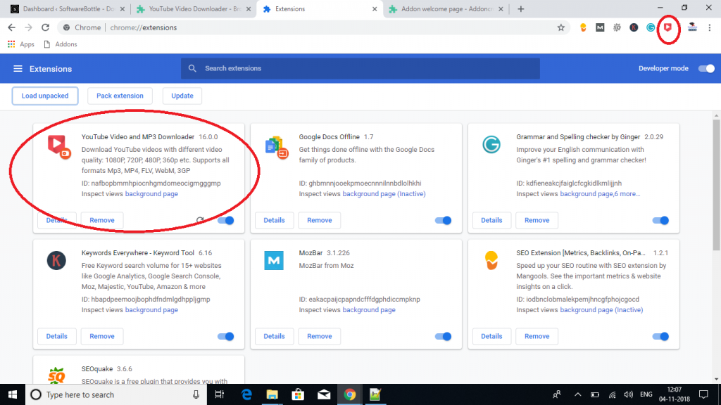 youtube video downloader extension for chrome browser installed - Softwarebottle