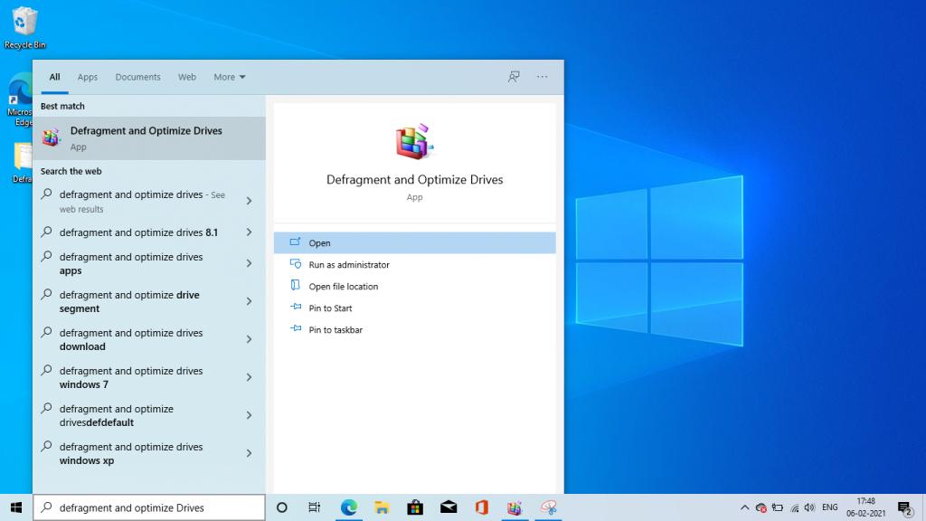 How to open Defragmentation in windows 10 - softwarebottle