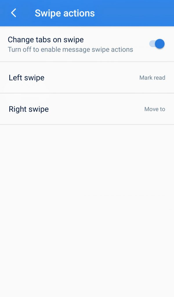 Microsoft sms organizer-swipe actions-softwarebottle